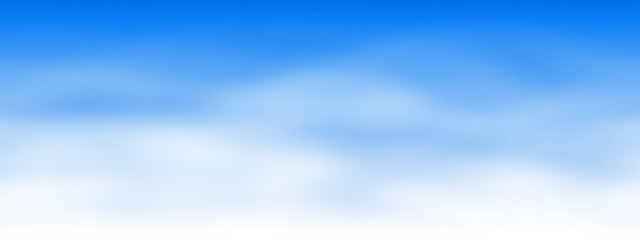 Illustration of seamless blue sky wide screen with soft white clouds and thin air with copy space available for your text,logo, products