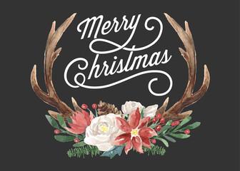 Wall Mural - Watercolor Christmas Reindeer Antlers Floral Bouquet Greeting Card