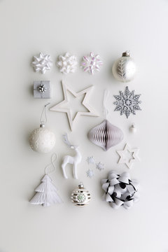 Collection of white Christmas objects