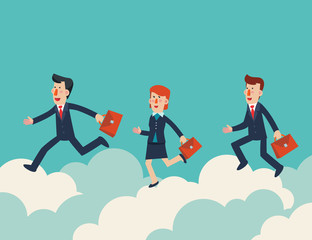 Business people running on clouds in the sky