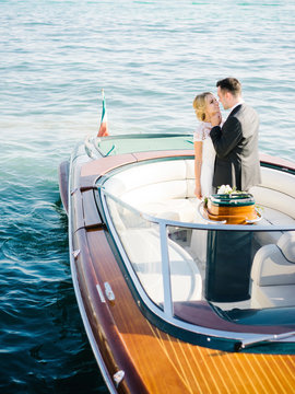 Wedding couple on yacht