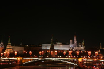 View of the Moscow Kremlin at night / Moscow city center
