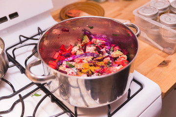 Cooking Vegetables and Spices, Veggies in Pot, Vegetarian Food