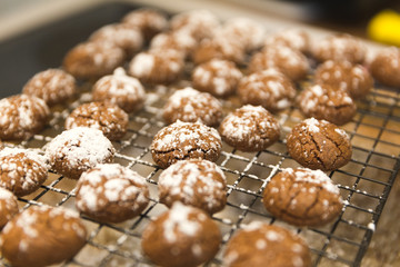 Puffy Chocolate Balls, Chocolate Cookies with Powdered Sugar