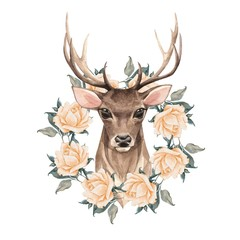 Noble deer with wreath. Spring watercolor illustration