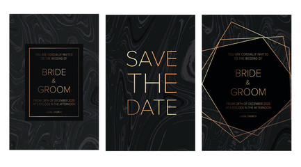 Luxury wedding invitation cards with black gold marble texture and gold geometric pattern vector design template.Trendy wedding invitation.All elements are isolated and editable.