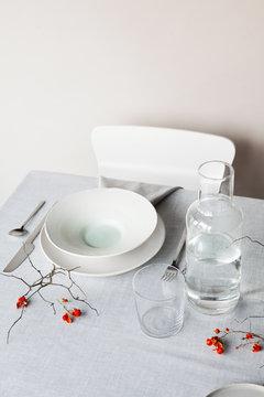 Minimal holiday table setting