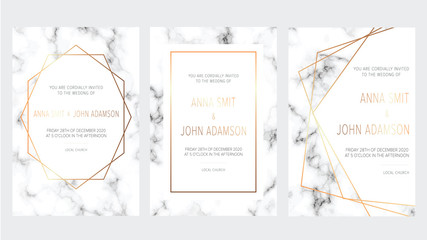 Luxury wedding invitation cards with marble texture and gold geometric pattern vector design template.Trendy wedding invitation.All elements are isolated and editable.
