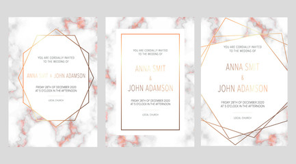 Luxury wedding invitation cards with rose gold marble texture and geometric pattern vector design template.Trendy wedding invitation.All elements are isolated and editable.