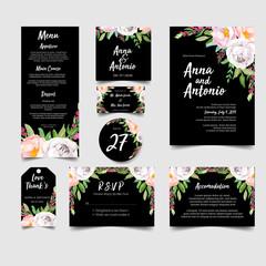 Wedding Invitation, rsvp card. menu card. escort card. Watercolor floral