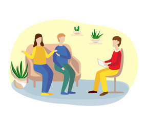 family counseling with a psychologist. psychotherapy. flat illustration