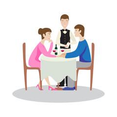 Romantic family dinner in a restaurant. Valentines dinner.