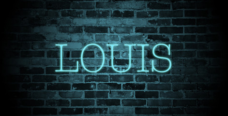 first name Louis in blue neon on brick wall