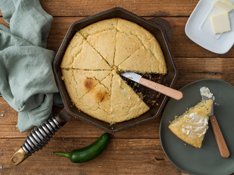 Jalapeno cornbread made in a cast iron skillet. Southern United States cuisine.