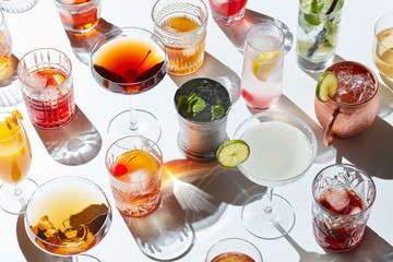 Arrangement of delicious cocktails served in glassware