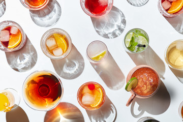 Background of served cocktails