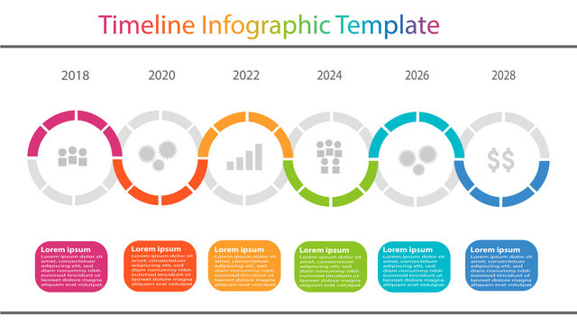 timeline infographic template with color text