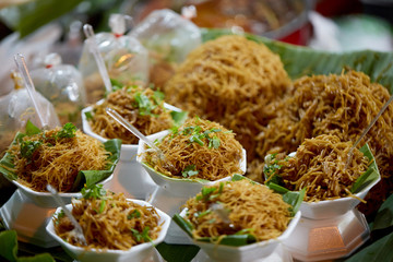 Attractive street food in the ancient city of Chiang Mai, the weekend night market