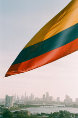 Colombian flag with view on Cartagena, Colombia