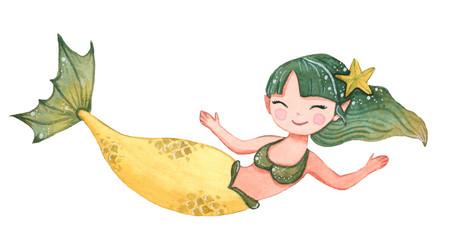 Cute watercolor mermaid