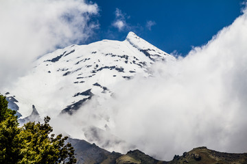 Hidden behind some clouds the snow caps of Mount Taranaki still peak through, Edgemont, National Park, New Zealand