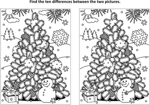 Winter holidays, New Year or Christmas themed find the ten differences picture puzzle and coloring page with christmas tree, cheerful snowman, gift box.