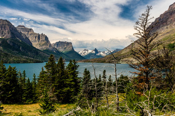 Wild Goose Island in the middle of St Mary's Lake, Glacier National Park, Montana, United States