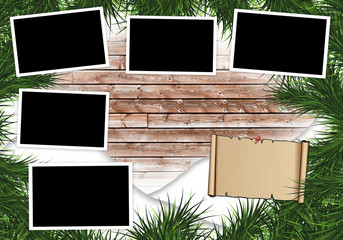 blank photo frames on a grunge background