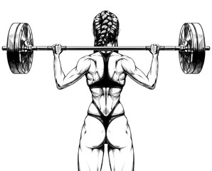 Girl bodybuilder with a barbell