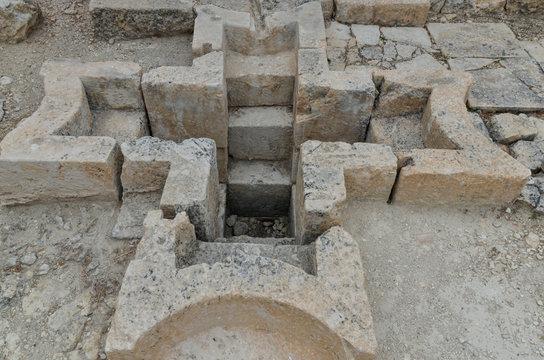 baptismal pool in baptistery of Alahan monastery  Mut, Mersin province, Turkey