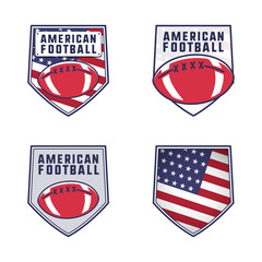 American football logo emblems set. USA sports badges collection in flat colorful style. Cute logotypes design with ball and america flag. Stock insignias isolated on white background