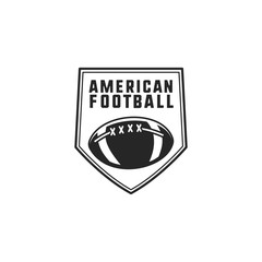 American football logo emblem. USA sports badge in silhouette style. Monochrome logotype design with ball. Stock insignia isolated on white background