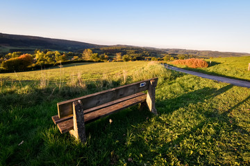 Bench overlooking valley of the ardennes at autumn in Belgium