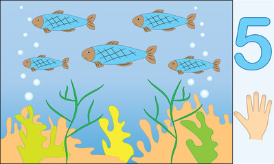 Fishes. Number 5 (five). Learning counting, mathematics. Education for kids. Vector illustration.