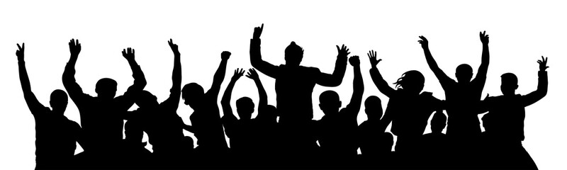 Crowd of fun people on party, holiday. Cheerful people having fun celebrating. Applause people hands up. Holiday victory. Cheer people sport fan. Silhouette Vector Illustration
