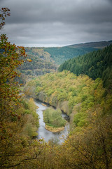 Viewpoint at the Ourthe running through the Belgian Ardennes