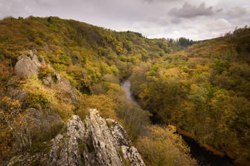 Beautiful view at the Ourthe valley from Le Herou cliffs at autumn season