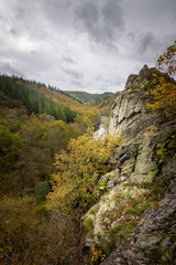 Steep and spikey rocks beside the beautiful Ourthe at Herou Ardennes