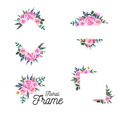 lovely rose pink watercolor of border and frame