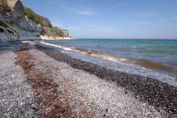 Beautiful coloration of the stony ocean shore at Stenvs Klint Denmark