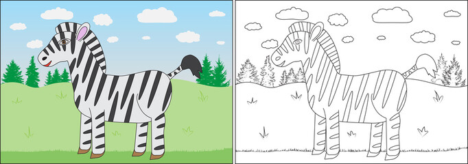Coloring book for children. Zebra cartoon on background of meadow, trees. Vector illustration.