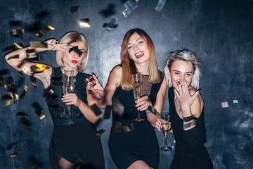 Beautiful girls have night party xmas new year 2018 style