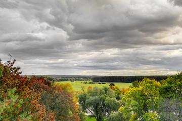 Green filelds in autumn
