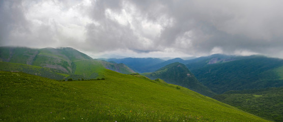 Panoramic view of cloudy mountains