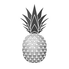 Pineapple sign with hearts for t-shirt. Tropical silver exotic fruit isolated white background. Love sign. Cute romantic typography graphic. Sweet summer design decoration. Vector illustration