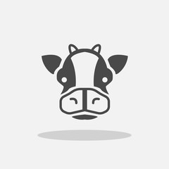 Cow vector icon with shadow