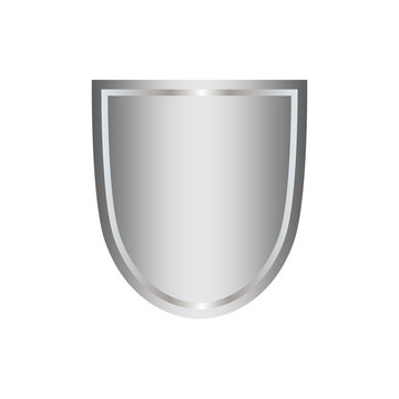 Silver shield shape icon. 3D gray emblem sign isolated on white background. Symbol of security, power, protection. Badge shape shield graphic design. Vector illustration