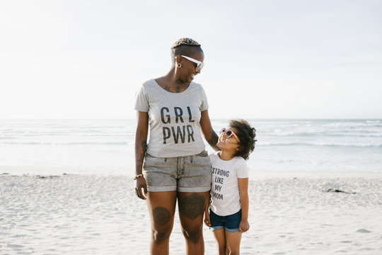 Mom and Daughter wearing fun tshirts