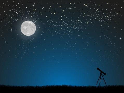 Starry Sky. Shining Stars Dark Sky. Telescope.