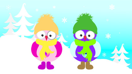 Vector illustration of owl children in the snowy woods in the winter.